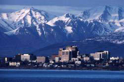 alaska city and mountains