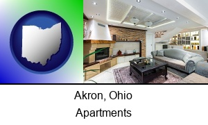 Akron Ohio a living room in a luxury apartment