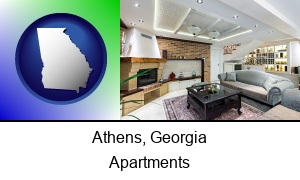 Athens, Georgia - a living room in a luxury apartment