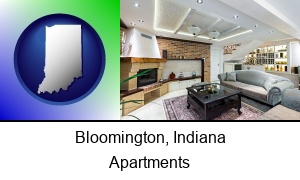 Bloomington, Indiana - a living room in a luxury apartment