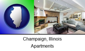 Champaign, Illinois - a living room in a luxury apartment