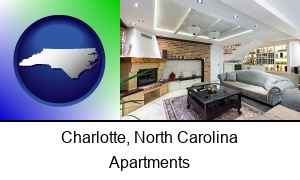 Charlotte North Carolina a living room in a luxury apartment
