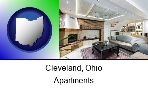 Cleveland, Ohio - a living room in a luxury apartment