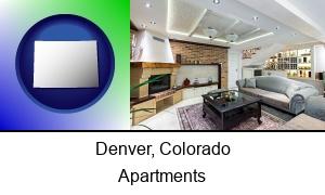 Denver, Colorado - a living room in a luxury apartment