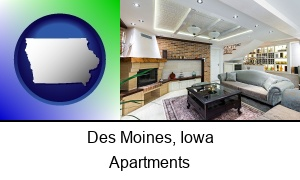 Des Moines, Iowa - a living room in a luxury apartment