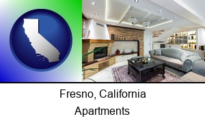 Fresno, California - a living room in a luxury apartment