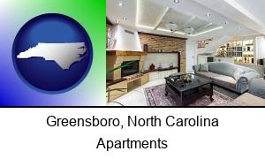 Greensboro North Carolina a living room in a luxury apartment