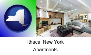 Ithaca, New York - a living room in a luxury apartment