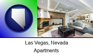 Las Vegas, Nevada - a living room in a luxury apartment