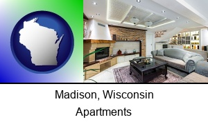 Madison, Wisconsin - a living room in a luxury apartment