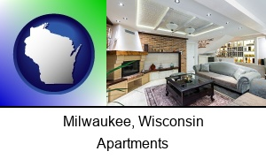 Milwaukee, Wisconsin - a living room in a luxury apartment