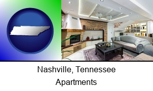 Nashville, Tennessee - a living room in a luxury apartment