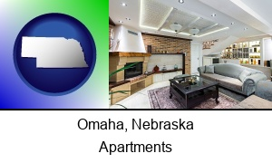 Omaha, Nebraska - a living room in a luxury apartment
