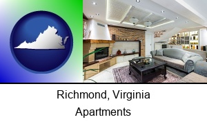 Richmond, Virginia - a living room in a luxury apartment