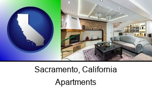Sacramento, California - a living room in a luxury apartment