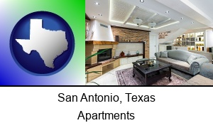 San Antonio, Texas - a living room in a luxury apartment