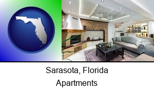 Sarasota, Florida - a living room in a luxury apartment