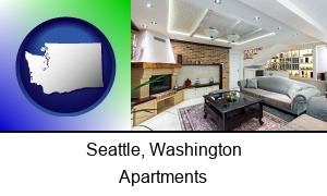 Seattle, Washington - a living room in a luxury apartment