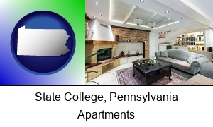 State College, Pennsylvania - a living room in a luxury apartment