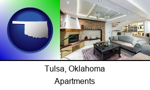 Tulsa, Oklahoma - a living room in a luxury apartment