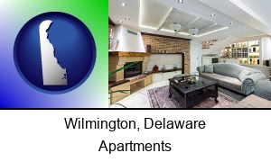 Wilmington, Delaware - a living room in a luxury apartment