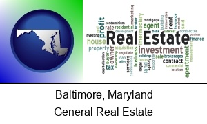 Baltimore Maryland real estate concept words