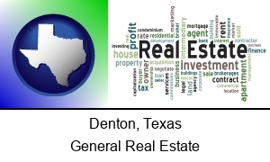 Denton Texas real estate concept words