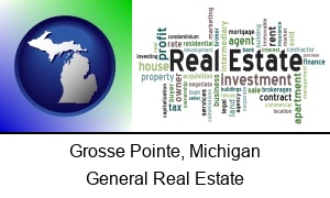 Grosse Pointe Michigan real estate concept words