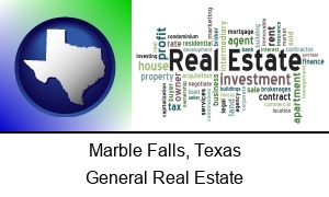 Marble Falls Texas real estate concept words