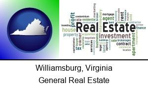 Williamsburg Virginia real estate concept words