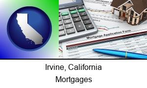 Irvine, California - a mortgage application form