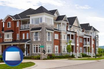 luxury apartments with North Dakota map icon