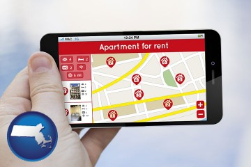 apartments for rent with Massachusetts map icon