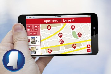 apartments for rent with Mississippi map icon
