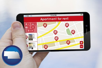 apartments for rent with Nebraska map icon