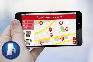 apartments for rent with Rhode Island map icon