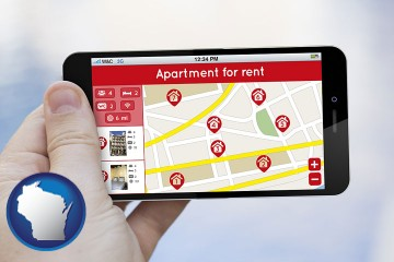 apartments for rent with Wisconsin map icon