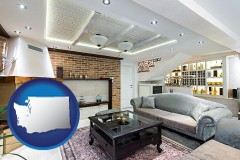 Washington - a living room in a luxury apartment