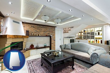 a living room in a luxury apartment with Alabama map icon