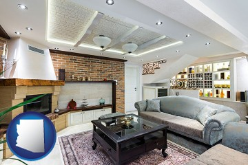 a living room in a luxury apartment with Arizona map icon