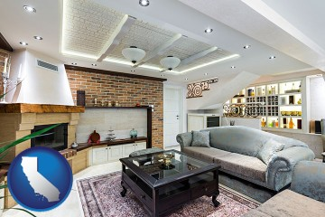 a living room in a luxury apartment with California map icon