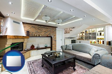 a living room in a luxury apartment with Colorado map icon