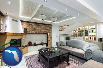 a living room in a luxury apartment with Florida map icon