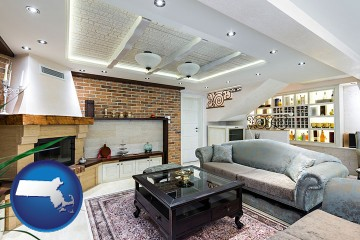 a living room in a luxury apartment with Massachusetts map icon