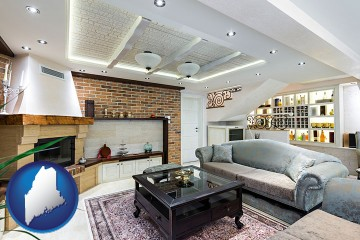 a living room in a luxury apartment with Maine map icon