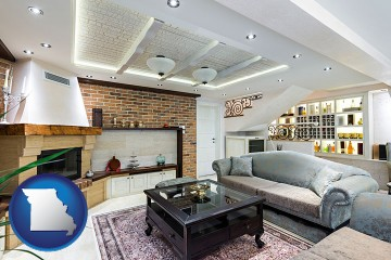 a living room in a luxury apartment with Missouri map icon