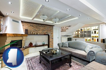a living room in a luxury apartment with Mississippi map icon