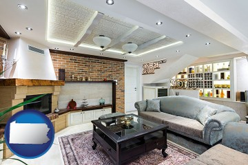 a living room in a luxury apartment with Pennsylvania map icon