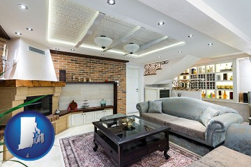 a living room in a luxury apartment with Rhode Island map icon