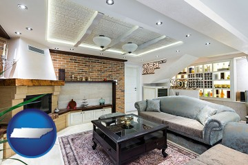 a living room in a luxury apartment with Tennessee map icon